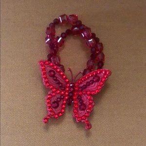 Tarina Tarantino Red Butterfly Bracelet